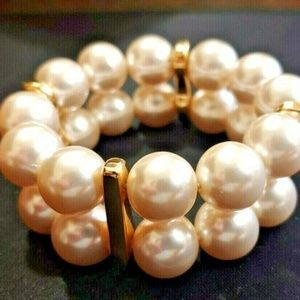 80's 2 Row Faux Pearl GOLD STRETCH BRACELET